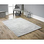 Ridges Light Grey Handloomed Pure Wool Rug - 120x170cm