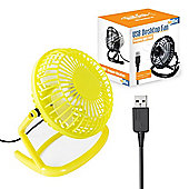 "Twitfish Plastic USB Desk Fan 4"" - Yellow"