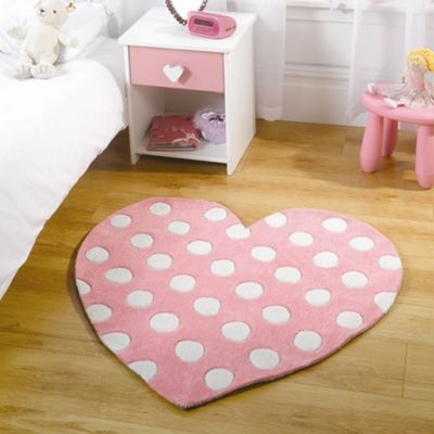 Pink Heart Shaped Rug 90 X 90 Cm
