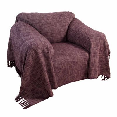 Homescapes Nirvana Slub Cotton Mauve Throw, 255 x 360 cm