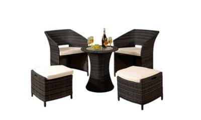 Comfy Living 5PC Rattan Garden Patio Furniture Set Outdoor In Black - 2 Chairs 2 Stools & Coffee Table