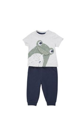 F&F Frog Applique T-Shirt and Joggers Set Grey/Navy 0-3 months