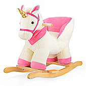 ToyStar Plush Unicorn Rocker With Seat - White & Pink