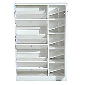 Homcom Wooden Shoe Rack Modern Storage Cabinet w/ 4 Doors Hallway Furniture - White
