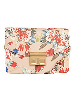 F&F Boxy Floral Print Cross-Body Bag Multi Pink One Size