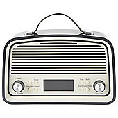 Tesco Retro DAB Stereo Radio Cream/Grey