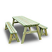 Oakham rounded picnic table and bench set - 7ft