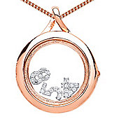 Rose Gold-Plated Silver Glass Case Living Memories Locket Necklace 18 inch - Comes with 3 Free Charms