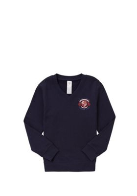 Unisex Embroidered Cotton Blend School V-Neck Sweatshirt with As New Technology 7-8 years Navy blue