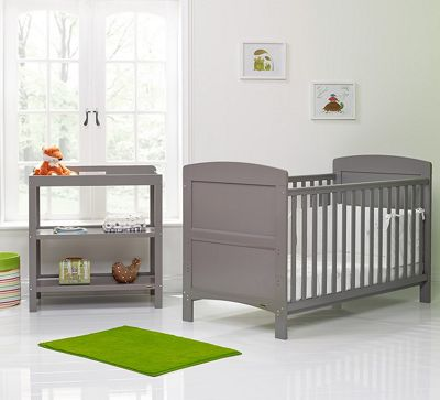 OBaby Grace 2 Piece Nursery Furniture Set - Taupe/Grey