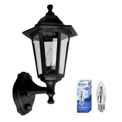 Modern IP44 Outdoor Up & Down PIR Sensor LED Wall Lantern in Black