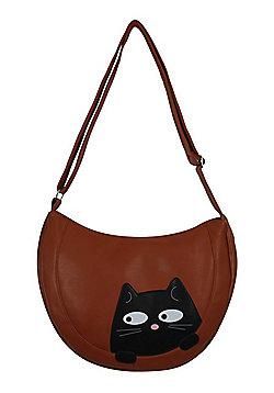 Peeking Black Cat Leather Brown Shoulder Bag