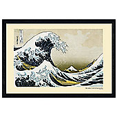 Katsushika Hokusai Black Wooden Framed The Great Wave of Kanagawa Poster