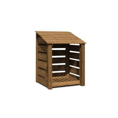 Burley wooden log store - 4ft - Slatted - Rustic Brown