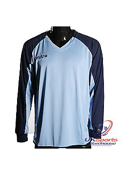 Mitre Aren DryCool Long Sleeved Football Shirt Jersey Blue/Navy - Navy & sky blue