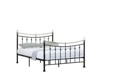 Comfy Living 4ft6 Double Vintage Style Metal Bed Frame with Crystal Finials in Black with Sprung Mattress