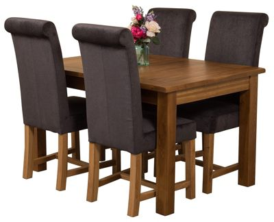 Cotswold Rustic Extending Solid Oak Dining Set Table & 4 Black Fabric Chairs