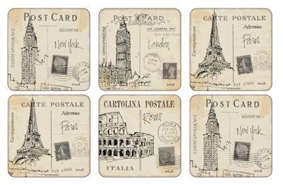 Pimpernel Postcard Sketches Coasters, Set of 6