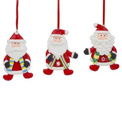 Set of 3 Claydough Father Christmas Tree Decorations