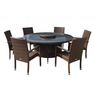 Rio (Armed) 6 Chairs And Large Round Table And Lazy Susan Set in Chocolate Mix