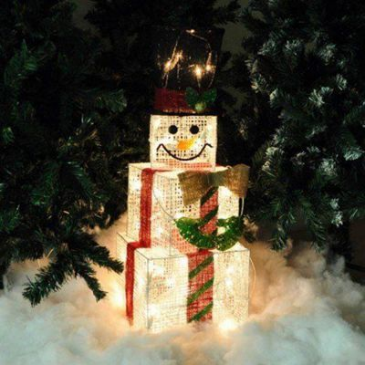 75 cm Tall Indoor Square Light Up Christmas Snowman Light Decoration Boxes Free P