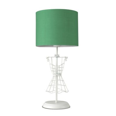 Bodice Shabby Chic Mannequin Table Lamp, Cream & Green