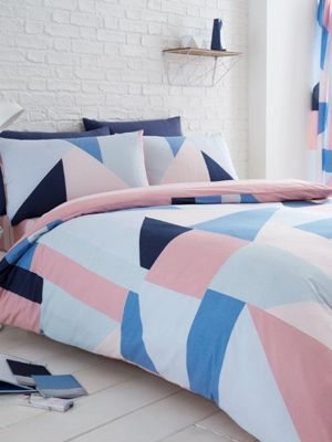 Sydney Geometric Single Duvet Cover and Pillowcase Set - Blue and Pink