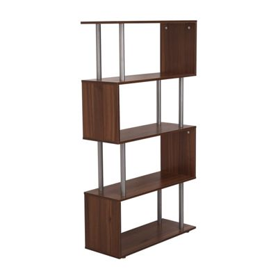 Homcom Wooden Wood S Shape Unit Chest Cupboard Cabinet (Walnut)