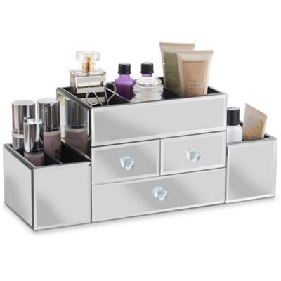 Beautify Large Mirrored Glass Jewellery Box & Makeup Organiser