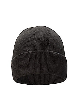 Mountain Warehouse Mens Winter Hats with Double Lined & Knitted Effect One Size - Black