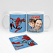 Marvel Personalised Father's Day Spiderman Photo Mug and Coaster Set
