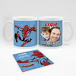 Marvel Personalised Father's Day Spiderman Photo Mug and Coaster Set