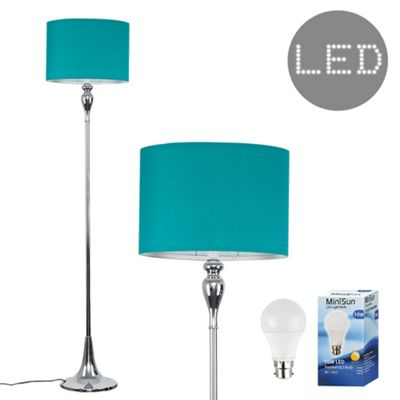 Faulkner 125cm Spindle LED Floor Lamp - Chrome & Teal