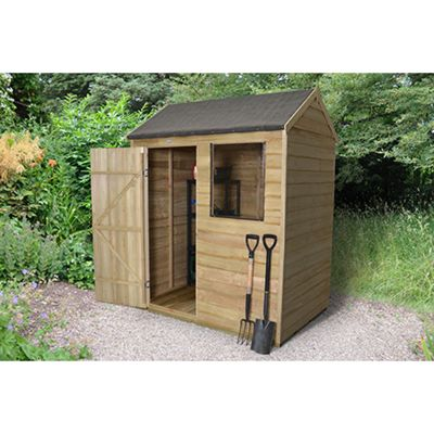 Forest Garden 6x4 Overlap Pressure Treated Reverse Apex Shed Installed