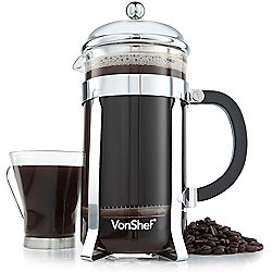 VonShef 12 Cup/1.5 Litre French Press Glass Cafetiere
