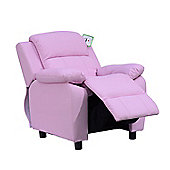 HOMCOM PU Leather Children Recliner Armchair W/ Storage Space on Arms