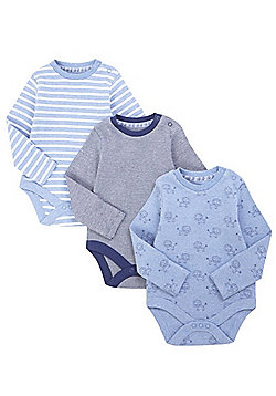 F&F 3 Pack of Lion Print and Striped Long Sleeve Bodysuits - Blue & Multi