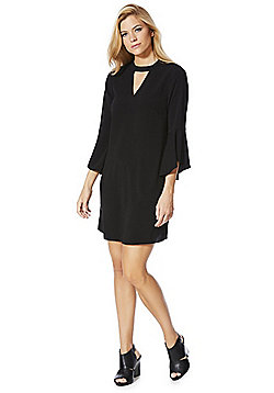 F&F Bell Sleeve Choker Dress - Black
