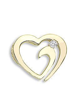 Jewelco London 9 Carat Yellow Gold 4pts Diamond Heart Pendant