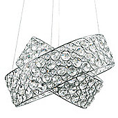 Hudson 3 Way K9 Crystal Intertwined Rings Ceiling Light Fitting