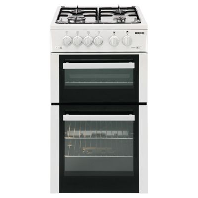Beko Double Gas Oven Cooker, 50cm Wide, BDVG592S - Silver