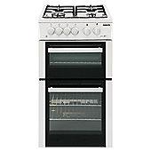 Beko Double Gas Oven Cooker, 50cm Wide, BDVG592S - Silver