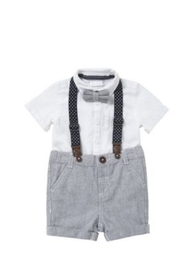 F&F Bow Tie, Shirt and Shorts Set Multi 0-1 months
