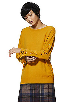 F&F Eyelet Lace-Up Sleeve Jumper - Ochre
