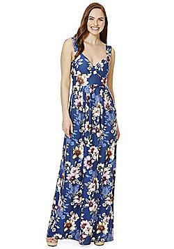 Mela London Floral Jersey Maxi Dress - Navy