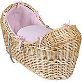 Clair de Lune Natural Noah Pod Moses Basket (Cotton Candy Pink)