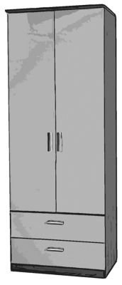 Welcome Furniture Mayfair Tall Wardrobe with 2 Drawers - Ruby - Light Oak - Black