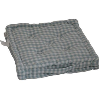 Homescapes Cotton Gingham Check Blue Floor Cushion, 40 x 40 cm
