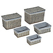 Homcom Storage Basket Wicker Bin Hamper Display Nature (5 Sets)