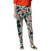 F&F Tropical Floral Print Tapered Trousers - Multi